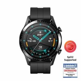 HUAWEI Watch GT 2 (46 mm) - mit Herzfrequenz-Messung, Musik Wiedergabe & Bluetooth Telefonie - 5ATM wasserdicht + 5EUR Amazon Gutschein, Matte Black - 1