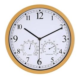 LENRUS 12 Zoll Wanduhr mit Thermometer und Hygrometer und Lautlosem Quarz Uhrwerk, Gartenuhr aus Kunststoff - 1