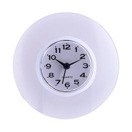 Saugnapf Wasserdicht Runde Mini Wanduhr Quarz Uhren Dekoration Für Badezimmer Küche Wohnzimmer Schlafzimmer(Weiß) - 1
