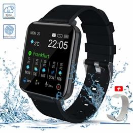 Smartwatch, Zagzog 1,54''Vollfarb-Touchscreen 15 Tage Wettervorhersage GPS-Tracking IP68 wasserdicht Fitness Sportuhr Unisex mit Schrittzähler Herzfrequenz Blutdruck Schlafüberwachung für IOS/Android - 1