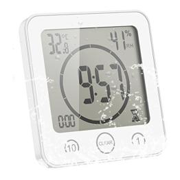 Sunsbell Digitale Baduhr, Wasserdicht Dusche Badezimmer Uhr mit Temperatur Luftfeuchtigkeit LCD-Bildschirm Display Intelligente Touch-Control Wanduhr Timer Küche (Weiß) - 1