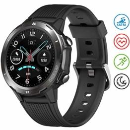 UMIDIGI Smartwatch Uwatch GT Fitness Tracker Armbanduhr Sportuhr Smart Watch für Damen Herren mit Herzfrequenz Schlaftracker 5 ATM Wasserdicht Kompatibel mit Android IOS Xiaomi Samsung, Matt-Schwarz - 1
