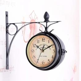 unho Malayas Zweiseitige Bahnhofsuhr - Wanduhr Uhr Retro Antik Stil Quarz Uhr,römische Zahlen, Batterie-Betrieb,schwarz - 1
