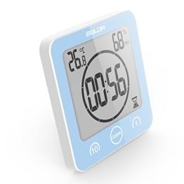 VORRINC Digitale Baduhr, Badezimmer Uhr mit Saugnapf LCD Display, Shower Clock Dusche Uhr Wasserdicht, Berührungssteuerung ℃ / ℉ Temperatur Luftfeuchtigkeit, Countdown Timer, Timer Küche (Blue) - 1