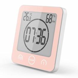 VORRINC Shower Clock Dusche Uhr Wasserdicht Badezimmeruhr Uhr mit Saugnapf LCD Display Luftfeuchtigkeit Temperatur Wanduhren,Countdown Timer (Pink) - 1