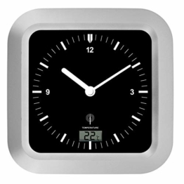 Zeit-Bar Funk-Wanduhr Badezimmer, mit Temperatur, LAUTLOS - 1
