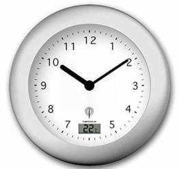 Zeit-Bar Funk-Wanduhr Badezimmer mit Temperaturanzeige, LAUTLOS - 1