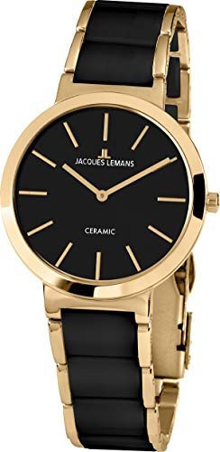 JACQUES LEMANS Damenuhr Milano Metallband/High-Tech-Ceramic massiv Edelstahl ip-Gold 1-1999C - 1