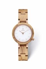 KERBHOLZ Holzuhr – Classics Collection Matilda analoge Quarz Uhr für Damen, Gehäuse und verstellbares Armband aus massivem Naturholz, Ø 27mm, Olivenholz Weiß - 1