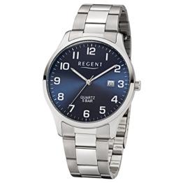 Regent Herren-Armbanduhr Elegant Analog Edelstahl-Armband silber Quarz-Uhr Ziffernblatt blau UR1153400 - 1