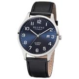 Regent Herren-Armbanduhr Elegant Analog Leder-Armband schwarz Quarz-Uhr Ziffernblatt blau UR1113409 - 1