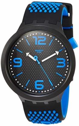 Swatch Herren Analog Quarz Uhr mit Silikon Armband SO27B101 - 1