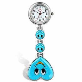 Avaner Unisex Krankenschwesteruhr Analog Quarzwerk Pflegeruhr Ansteckuhr mit Clip Hanging Medical Taschenuhr Smiley-Herzform Blau AN015-10 - 1