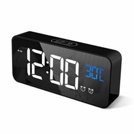 CHEREEKI Digitaler Wecker, LED Digitaluhr mit Temperaturanzeige Tragbarer Spiegelalarm Tischuhr mit 2 Alarmen 13 Alarmtöne USB Wiederaufladbar 4 Helligkeit und Lautstärke Regelbar, 12/24 Stunden - 1
