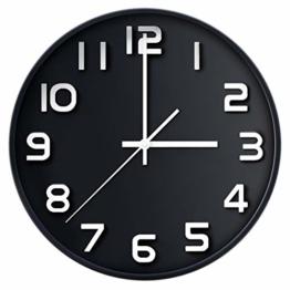 coslife Wanduhr 3D-12-Zoll-Non-Ticking Silent Quarz dekorative Uhren, leicht zu lesen, Home/Küche/Büro/Schuluhr (schwarz) - 1