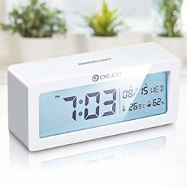 Digital Wecker, DIGOO Alarm Clock Digitaluhr Tischuhr Snooze uhr mit Thermo-Hygrometer, Frische Farben große LCD-Ziffern Hintergrundbeleuchtung Batteriebetrieben Energieeffizient ohne ticken, weiß - 1