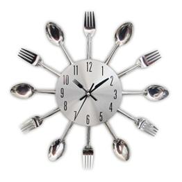 Edelstahl Küchenutensilien Uhr - Küche Besteck Wanduhr mit getönten Gabeln, Löffel, Spatel Design Küchenuhr mit für Küche Déco Indoor und Outdoor, - 1