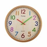 Foxtop 30 cm Modern Quartz Lautlos Wanduhr Kinder Schleichende Sekunde ohne Ticken Farbenfrohe Kinderwanduhr für Jungen und Mädchen - 1