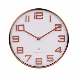 Funk Wanduhr Funkuhr Küchenuhr Aluminiumgehäuse Wanduhren, 3D-Zahlen Gebogenes Spiegelglas Wanduhr 26cm Modern Roseglod Quartz Lautlos Wanduhr - 1