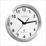 GLENDALE Wanduhr funkgesteuert (Silber) - 30cm - Aluminium - Funkuhr - lautlos - ohne Ticken - schleichende Sekunde - Silent Sweep Uhrwerk - 1