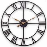 Große Wanduhr, Europäische Industrie Vintage Wanduhr mit Großen Römischen Ziffern, Stille Nicht Tickende Metalluhr für Haus, Wohnzimmer, Küche, Schlafzimmer und Höhle - 47 cm, Schwarz - 1