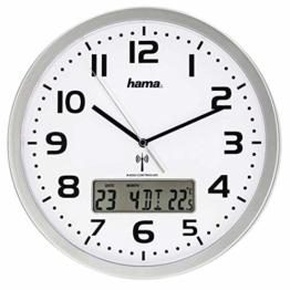 Hama Funk-Wanduhr digital (große Funkuhr mit analoger Zeitanzeige, Wanduhr mit digitaler Kalender- und Temperaturanzeige, inkl. Batterie) silber - 1