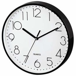 Hama Wanduhr ohne tickgeräusche (leise Wohnzimmer-Uhr mit großem Ziffernblatt, analoge Küchenuhr inkl. Batterie) schwarz - 1