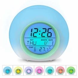 HAMSWAN [Geburtstagsgeschenk für Kinder LED Wecker, JL-C018 7 Farben ändern Wecker, Schlaf-Friendly mit Innentemperaturanzeige für Arbeit Eltern, Studenten etc (Hellgrün) - 1