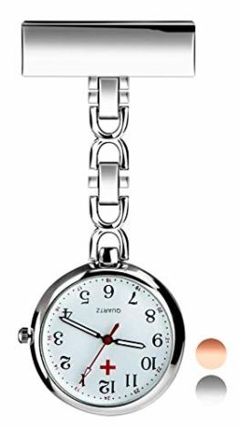 Herren Damen Analog Uhr - Revers Pin Klammer on Brosche hängen Taschenuhr/Krankenschwesteruhr/Pulsuhr/Kitteluhr Pflegeuhr, Schwesternuhren für Doktor Krankenschwester Paramedic Silber - 1