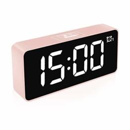"""HOMVILLA Digitaler Wecker, 4,6"""" LED-Display-Uhren mit Sprachsteuerung Funktion, USB Ladeanschluss, Snooze, 25 Weckerlieder, Speicher Batterie, 3 Helligkeit und Lautstärke Regelbar, 12/24 HR (Rosa) - 1"""