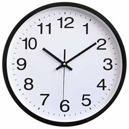 HOSTON 12-Zoll große leise Wanduhr ohne Ticken, batteriebetriebene Moderne Quarz-Digitalwanduhr für Küche, Wohnzimmer, Bad, Bürodekoration (Kunststoff schwarz, 12 Zoll) - 1