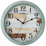 HYLANDA rustikale Wanduhr, batteriebetrieben, 30,5 cm lange Uhr, leise, nicht tickende Uhr, dekorativ für Küche, Zuhause, Wohnzimmer, Bauernhaus, Schlafzimmer - 1