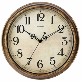 HYLANDA Wanduhr – 30,5 cm Vintage-Wanduhren batteriebetrieben – Retro Quarz leise tickt nicht – dekoratives Wohnzimmer Zuhause Küche Schule Büro (Bronze) - 1