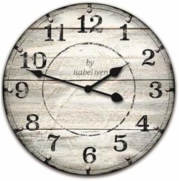 Isabel Iven Wanduhr Vintage ohne Tickgeräusche im Retro Stil mit Lautlosem Uhrwerk - Große Wand Uhr 30 cm Ø aus MDF - 1