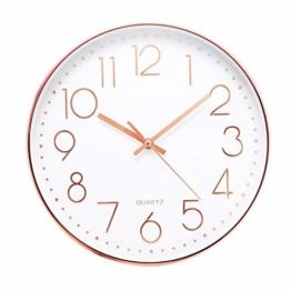 Jeteven® 30cm Rund Wanduhr Kinderuhr mit geräuscharmem Uhrwerk mit schleichender Sekunde groß Quarz-Wanduhr ohne Tickgeräusche modern für Wohn- /Schlaf- / Kinderzimmer Büro Cafe Restaurant (Rosegold) - 1