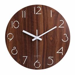 jomparis 12 Zoll/30CM Hölzern Wanduhr Küchenuhr Nicht-tickende Uhr für die Küche Home Office Wohnzimmer und Schlafzimmer (Dunkelbraun)-MEHRWEG - 1