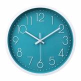 jomparis 30cm Modern Quartz Lautlos Türkis Wanduhr Schleichende Sekunde ohne Ticken - Petrol Wanduhr ist perfektes Dekor für Wohnzimmer, Zimmer, Büro - 1