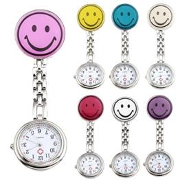 JSDDE 7er Unisex Krankenschwesteruhr Set Analog Quarz Rund Lächeln Emoticon Krankenschwester Uhr Schwesternuhr Taschenuhr - 1