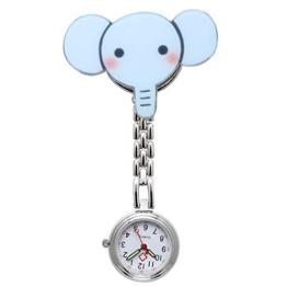 JSDDE Uhren Krankenschwesteruhr Silikon Cute Muster FOB Uhr Pflegeruhr Pulsuhr Ketteuhr Ansteckuhr Schwesternuhr mit Clip Analoge Quarzuhr Taschenuhr (Elefant) - 1