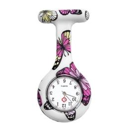 JSDDE Uhren Schwesternuhren Krankenschwesteruhr FOB-Uhr Silikon Hülle Pulsuhr Pflegeuhr Tunika Brosche Taschenuhr Ansteckuhr Analog Quarzuhr (Lila Schmetterling) - 1