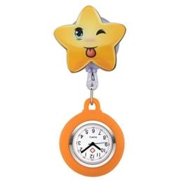 JSDDE Uhren Süß Schwesternuhren Stern Form Krankenschwesteruhr FOB-Uhr Silikon Hülle Pulsuhr Pflegeuhr Tunika Brosche Taschenuhr Ansteckuhr Analog Quarzuhr (Orange) - 1