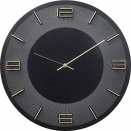 Kare Design Wanduhr Leonardo Schwarz/Gold, Dekouhr Rund, Küchenuhr in Schwarz mit Goldenen Akzenten, moderne Uhr für Wohnküche, Wohnzimmer, (H/B/T) 48,5x48,5x4,5cm - 1
