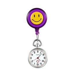 LANCARDO Uhren, Silikon Krankenschwester Armbanduhr FOB-Uhr Damen Lächeln Digitale Analog Revers Stretch verstellbar Länge Taschenuhr (lila) - 1