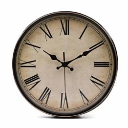 Lawei Wanduhr Vintage Küchenuhr mit Geräuscharmem Uhrwerk Kinderuhr ohne Tickgeräusche mit Römische Ziffern für Büro Zimmer Cafe Restaurant, Ø 28 cm - 1