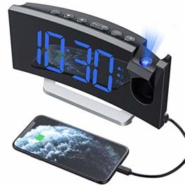 Mpow Projektionswecker, Wecker Digital mit Projektion, Radiowecker mit USB-Anschluss, Dual-Alarm, 5 Alarmtöne mit 3 Lautstärke, 0-100% Helligkeitsdimmer, 4 Projektionshelligkeit, 30 FM Radio - 1
