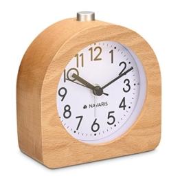 Navaris Analog Holz Wecker mit Snooze - Retro Uhr Halbrund mit Ziffernblatt Alarm Licht - Leise Tischuhr Ohne Ticken - Naturholz in Hellbraun - 1