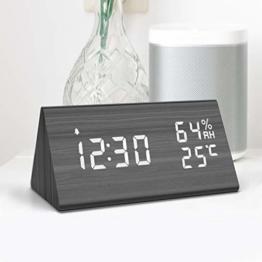 NBPOWER Wecker Digitaler LED Wecker Uhr Holz,Digitalwecker Tischuhr mit Sprachsteuerung/Snooze funktion/Datum/Temperatur und Luftfeuchtigkeit, für Zuhause, Schlafzimmer, Nacht Kinder und Büro -schwarz - 1