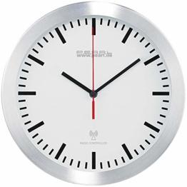 PEARL Küchenuhr Funkuhr: Elegante Funk-Wanduhr im Alugehäuse, laufruhiges Quarz-Uhrwerk (Küchen Funkuhr Wanduhr) - 1