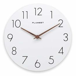 Plumeet 30,5 cm große Wanduhr aus Holz, rahmenlose Wanduhren mit geräuschlosem Quarz-Uhrwerk – moderner Stil, weiße Uhren, dekorativ, batteriebetrieben - 1