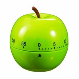 Relaxdays Eieruhr Apfel, mechanisch, laut, Küche, 1h Zeitintervall, Kunststoff, D: 7 cm, lustiger Kurzzeitwecker, grün - 1